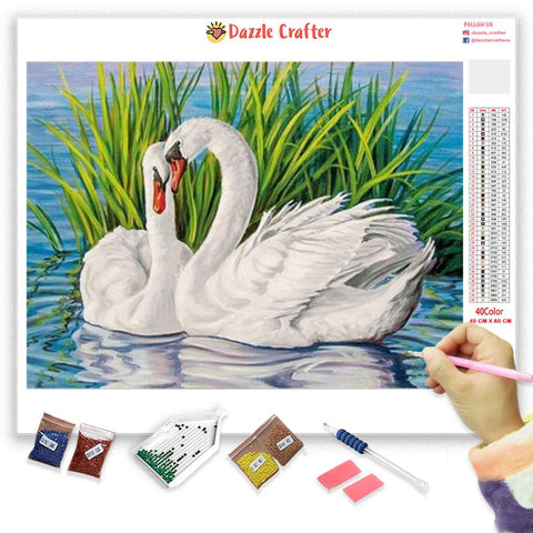 WHITE SWAN LOVE Diamond Painting Kit