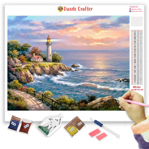 Image of LIGHTHOUSE AND THE SEA Diamond Painting Kit