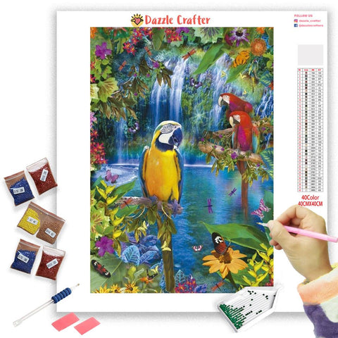 Image of COLORFUL PARROTS Diamond Painting Kit