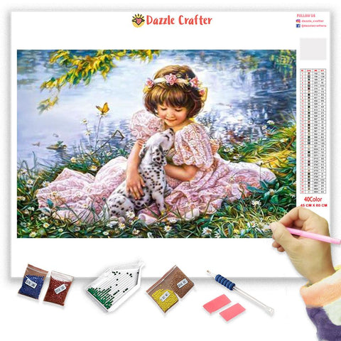 Image of ANGEL WITH PUPPY          Diamond Painting Kit