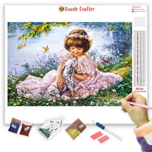 ANGEL WITH PUPPY          Diamond Painting Kit