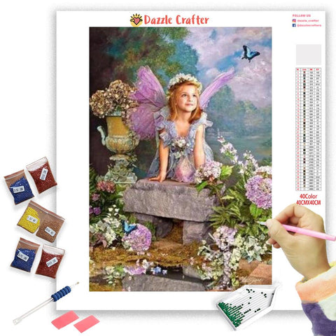 Image of ANGEL WITH LILAC FLOWERS Diamond Painting Kit