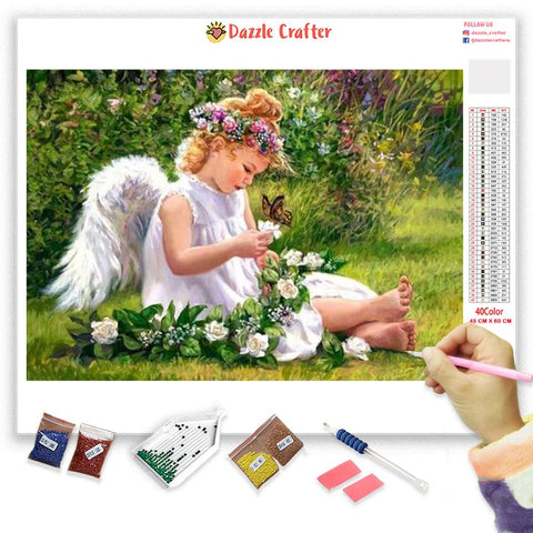 ANGEL WITH FLOWER BRAID  Diamond Painting Kit