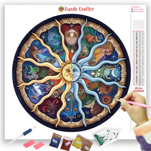 SUN SIGNS MANDALA Diamond Painting Kit