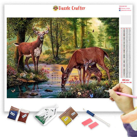 Image of DEER IN THE FOREST Diamond Painting Kit