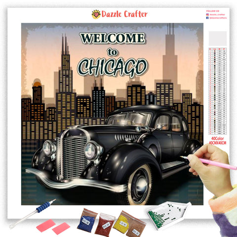 Image of TRAVEL TO CHICAGO VINTAGE Diamond Painting Kit