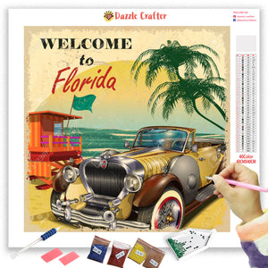 TRAVEL TO FLORIDA VINTAGE Diamond Painting Kit