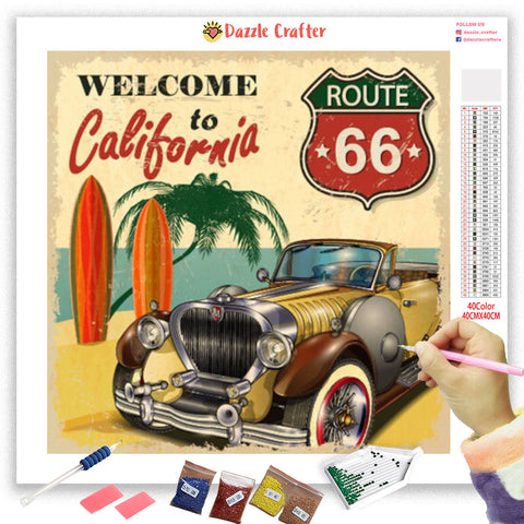 Image of ROUTE66 TO CALIFORNIA VINTAGE Diamond Painting Kit
