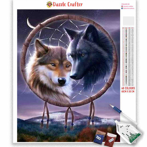 DREAMCATCHER TWIN WOLVES Diamond Painting Kit
