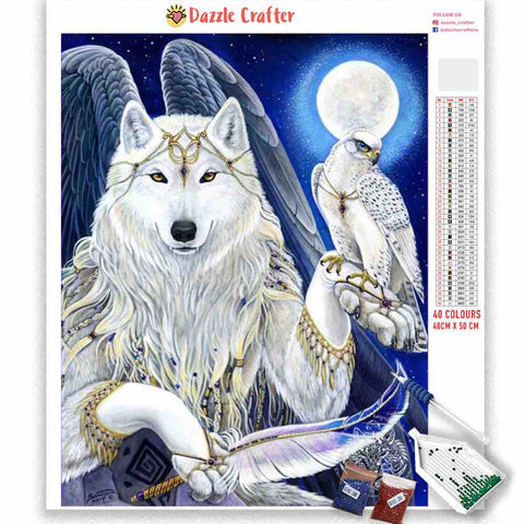 Image of QUEEN WHITE WOLF Diamond Painting Kit