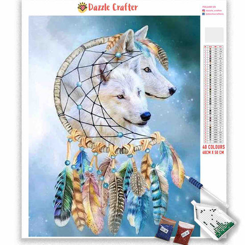 BLUE DREAMCATCHER WOLVES Diamond Painting Kit