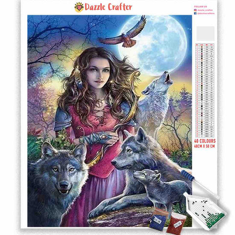 BEAUTY WITH WOLVES Diamond Painting Kit