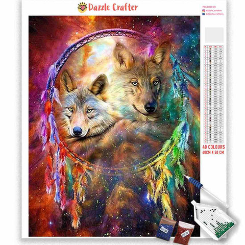 Image of MULTICOLOR DREAMCATCHER WOLF Diamond Painting Kit