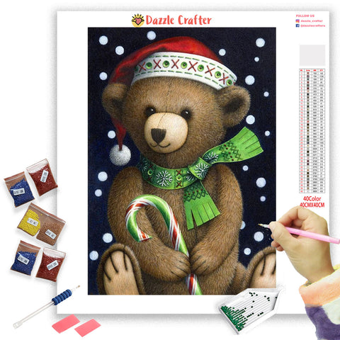 Image of CHRISTMAS TEDDY BEAR  Diamond Painting Kit