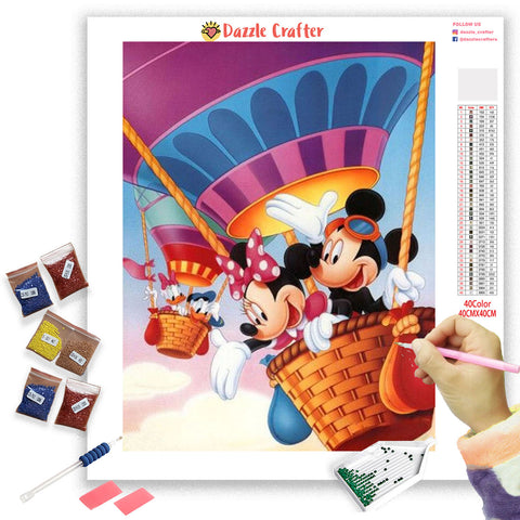 Image of MICKEY IN A HOT AIR BALLOON Diamond Painting Kit