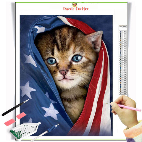 MY PATRIOT KITTEN  Diamond Painting Kit - DAZZLE CRAFTER