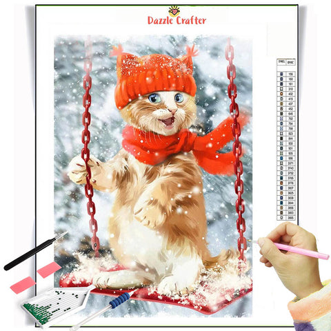 CAT ENJOYING THE SWING Diamond Painting Kit - DAZZLE CRAFTER