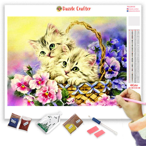 KITTENS IN WICKER BASKET Diamond Painting Kit - DAZZLE CRAFTER