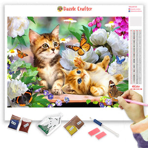 CATS CHASING BUTTERFLIES Diamond Painting Kit - DAZZLE CRAFTER