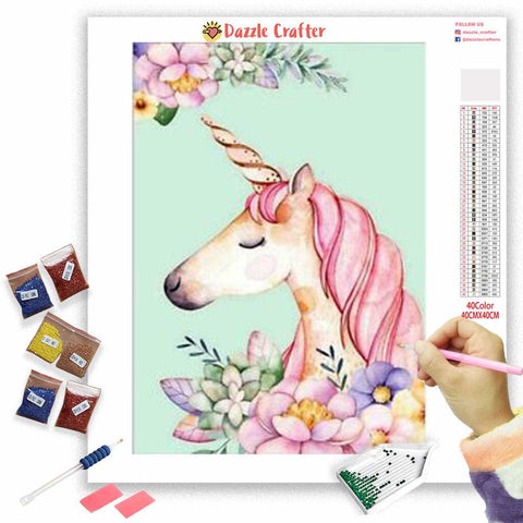 Image of PRETTY PINK GRACEFUL FLOWER UNICORN Diamond Painting Kit