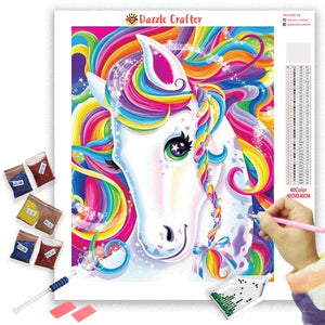WHITE UNICORN WITH RAINBOW COLORS Diamond Painting Kit