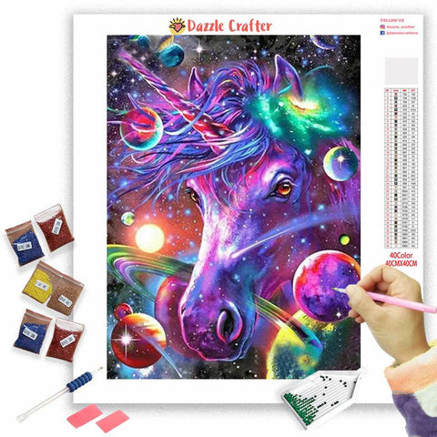 Image of PURPLE FANTASY UNICORN  Diamond Painting Kit