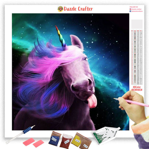 Image of PLAYFUL UNICORN Diamond Painting Kit - DAZZLE CRAFTER