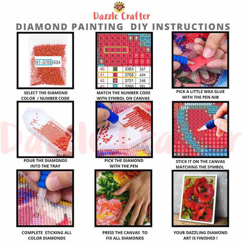 Image of RED POPPY FLOWERS Diamond Painting Kit