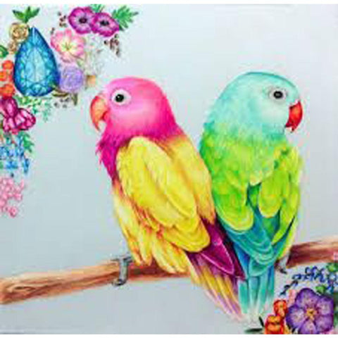 Image of TWO PARROTS Diamond Painting Kit