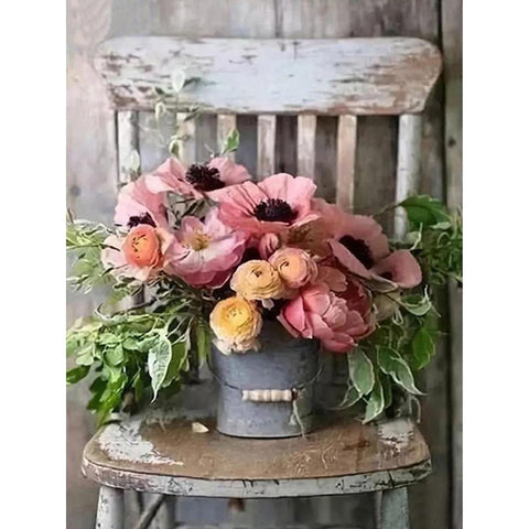 Image of GARDEN FLOWERS RUSTIC CHAIR Diamond Painting Kit