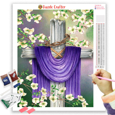 Image of HOLY CROSS WITH FLOWERS Diamond Painting Kit