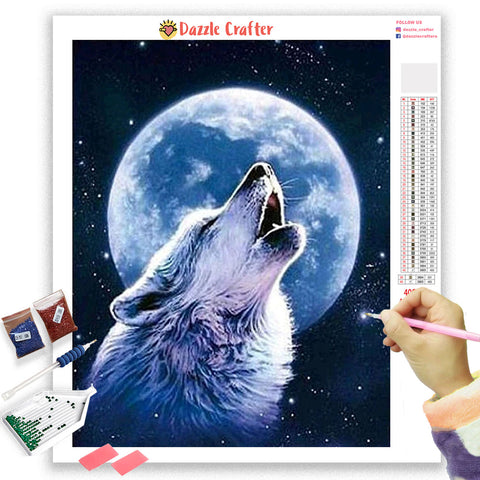 Image of WOLF HOWLING AT MOON Diamond Painting Kit