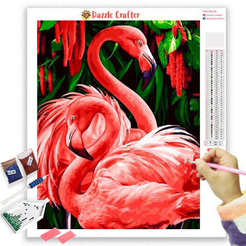 Image of DANCING FLAMINGOES Diamond Painting Kit