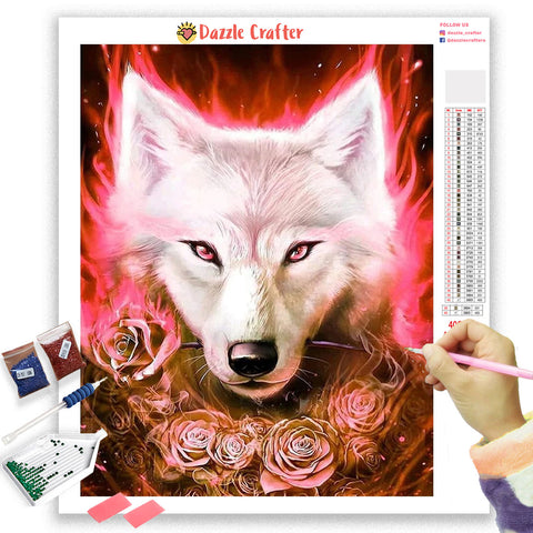 RED ROSES WOLF Diamond Painting Kit