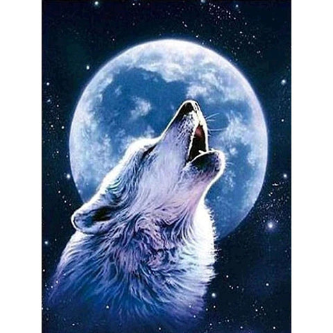 WOLF HOWLING AT MOON Diamond Painting Kit