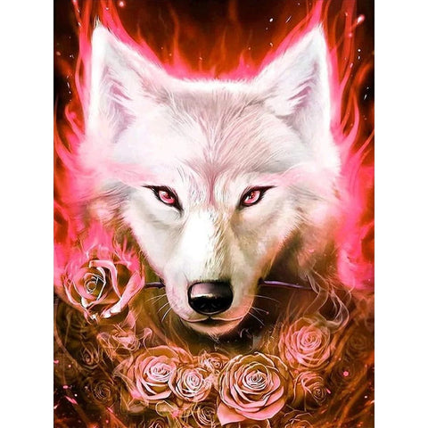 Image of RED ROSES WOLF Diamond Painting Kit