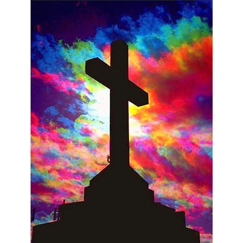 Image of COLORFUL SKY WITH CROSS Diamond Painting Kit