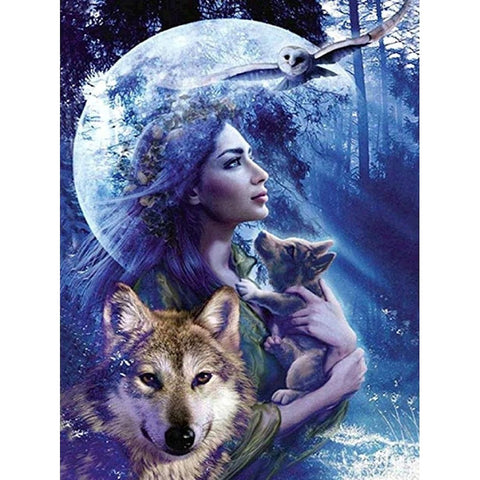 NIGHT QUEEN WITH WOLVES Diamond Painting Kit