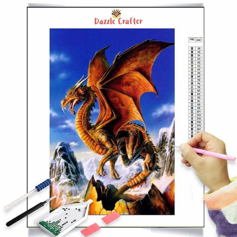 FIERY ORANGE DINOSAUR Diamond Painting Kit