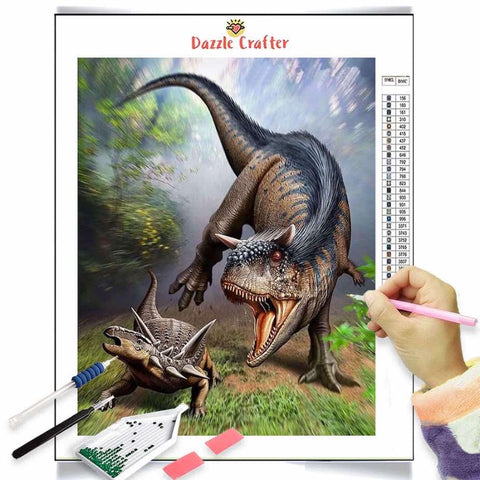 Image of DINOSAUR IN THE FOREST Diamond Painting Kit