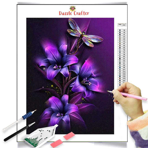 Image of NEON PURPLE LILIES WITH DRAGONFLY Diamond Painting Kit