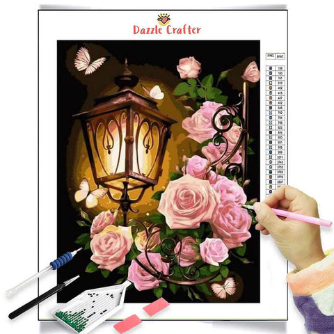 Image of VINTAGE STREET LAMP WITH PINK ROSES Diamond Painting Kit