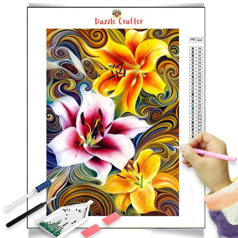 Image of YELLOW PINK LILY FLOWERS  Diamond Painting Kit