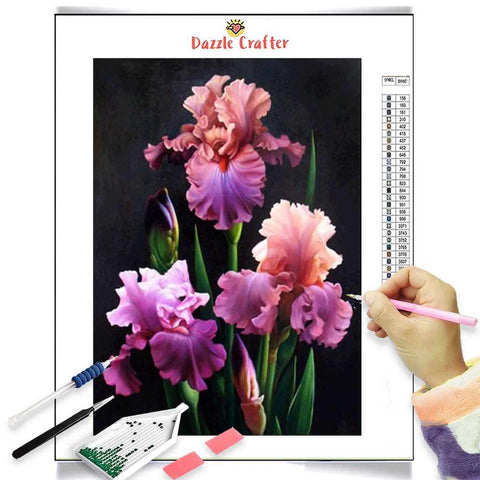 Image of PINK LILAC ORCHIDS Diamond Painting Kit