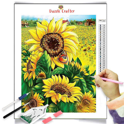 Image of SMILING SUNFLOWERS Diamond Painting Kit