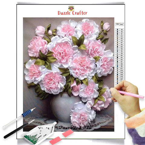 PASTEL PINK WHITE PEONIES Diamond Painting Kit