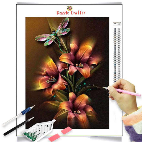 Image of NEON YELLOW LILIES WITH DRAGONFLY Diamond Painting Kit