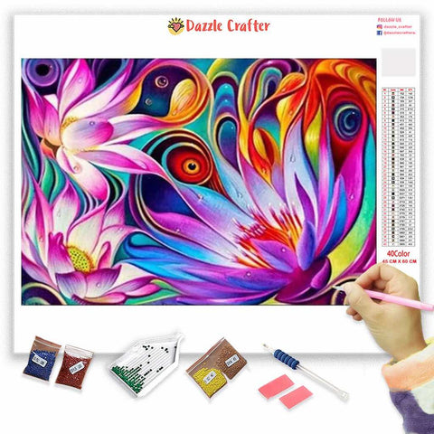 Image of ABSTRACT PINK LILIES Diamond Painting Kit