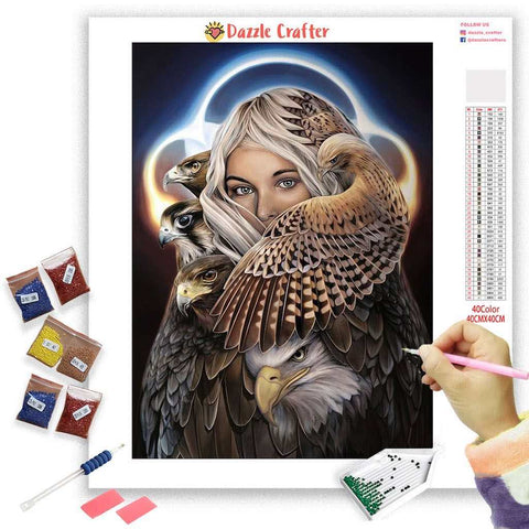 Image of LADY HAWK Diamond Painting Kit