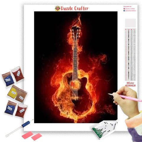 Image of BLAZING GUITAR Diamond Painting Kit